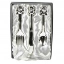 Silver Plated Knife, Fork & Spoon Set With Teddy Tops