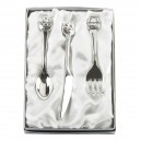Silver Plated Knife, Fork & Spoon Set With Noahs Arc Tops