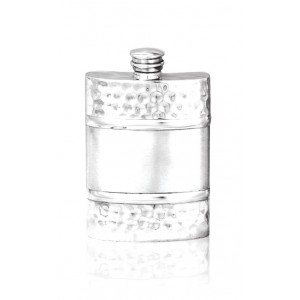 Hammered Finish Satin Banded Hipflask