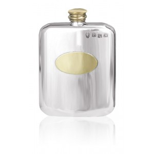 Rounded Pewter Hipflask With Brass Plate