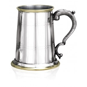 1 Pint, Double Banded Tankard, With Brass Trim