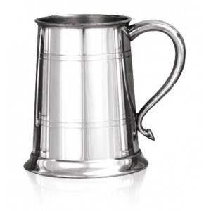 1 Pint,Double Banded Tankard With Round Handle